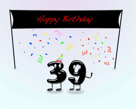 ninth birthday: Illustration for 39th birthday party with cartoon numbers  Stock Photo