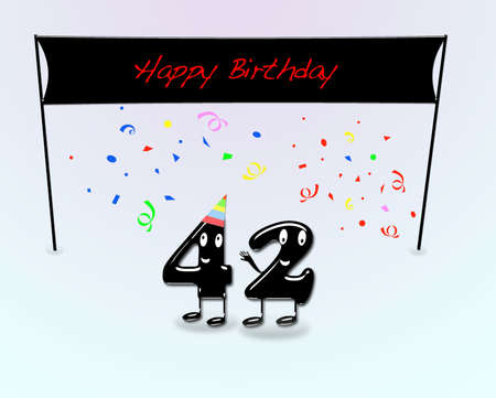 second birthday: Illustration for 42th birthday party with cartoon numbers