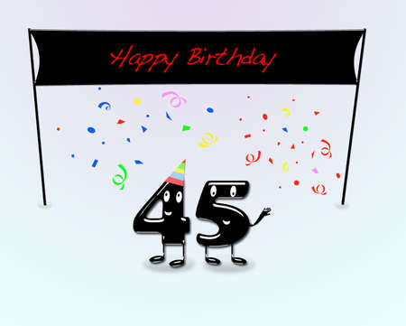 45th: Illustration for 45th birthday party with cartoon numbers
