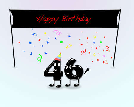 sixth birthday: Illustration for 46th birthday party with cartoon numbers  Stock Photo