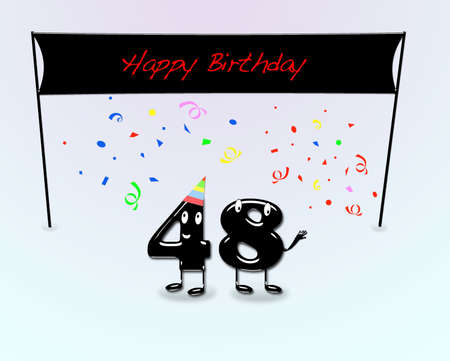 48: Illustration for 48th birthday party with cartoon numbers  Stock Photo
