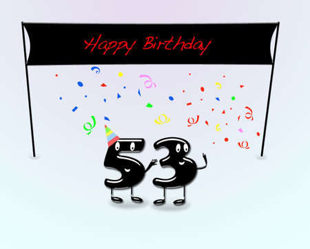 third birthday: Illustration for 53th birthday party with cartoon numbers