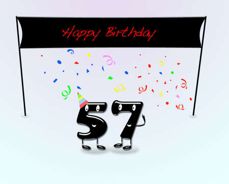 57: Illustration for 57th birthday party with cartoon numbers
