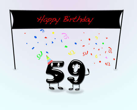 ninth birthday: Illustration for 59th birthday party with cartoon numbers