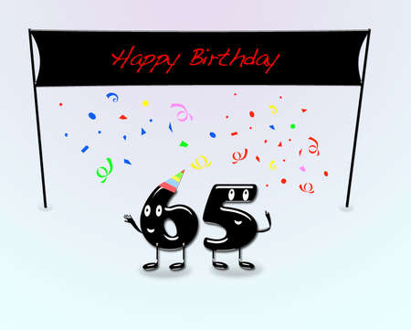 65th: Illustration for 65th birthday party with cartoon numbers