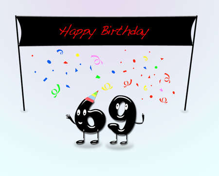 ninth birthday: Illustration for 69th birthday party with cartoon numbers