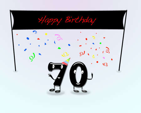 seventieth: Illustration for 70th birthday party with cartoon numbers. Stock Photo