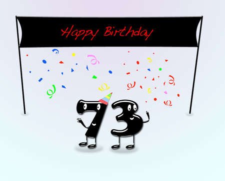 third birthday: Illustration for 73th birthday party with cartoon numbers  Stock Photo