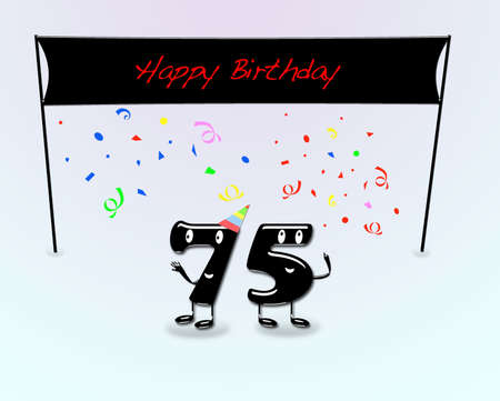Illustration for 75th birthday party with cartoon numbers