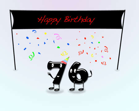 sixth birthday: Illustration for 76th birthday party with cartoon numbers