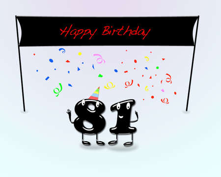 81: Illustration for 81th birthday party with cartoon numbers