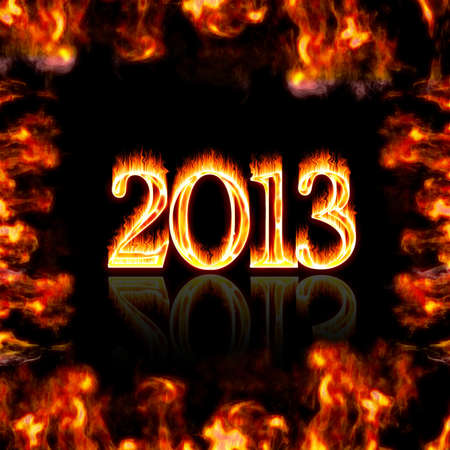 Illustration with a burning 2013 on a black background  illustration