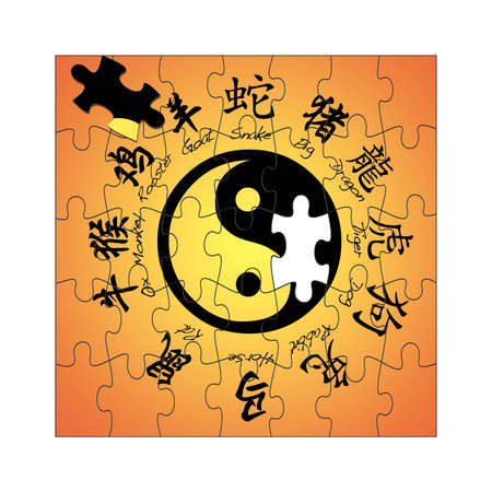 Illustration with chinese zodiac signs and yin yang  illustration