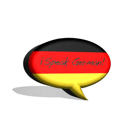 illustration with german flag and text speak german  illustration