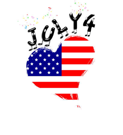 Isolated USA heart july 4  Stock Photo - 15581045