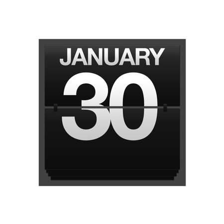 Illustration with a counter calendar January 30  Stock Illustration - 15633339