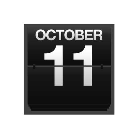 11 number: Illustration with a counter calendar October 11