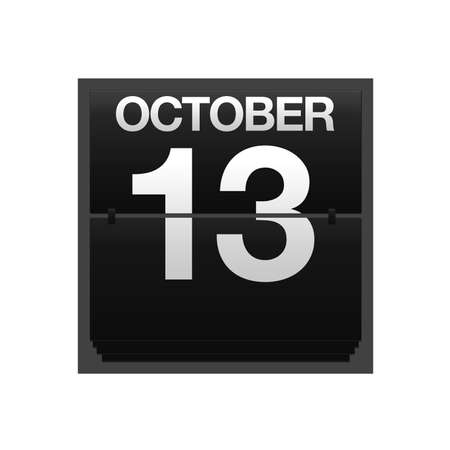 thirteen: Illustration with a counter calendar October 13