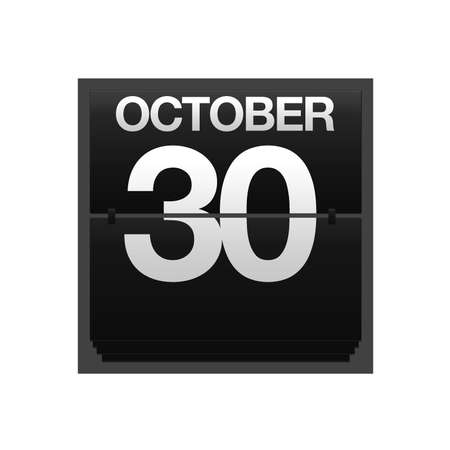 Illustration with a counter calendar October 30  Stock Illustration - 15633348