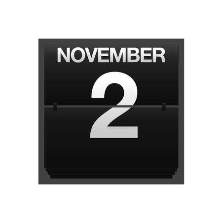 2 november: Illustration with a counter calendar november 2