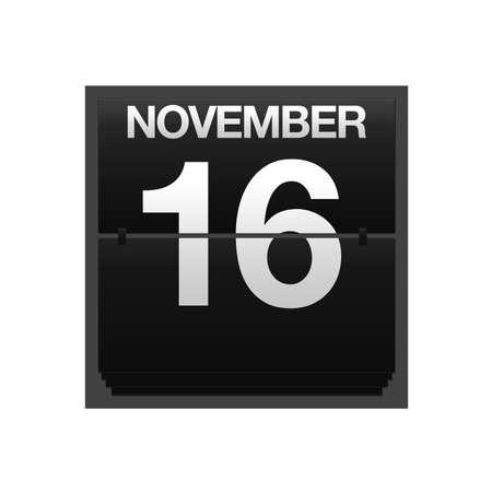 number 16: Illustration with a counter calendar november 16