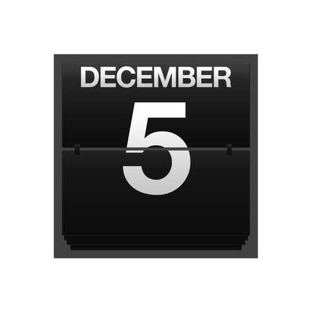 Illustration with a counter calendar december 5 Stock Illustration - 15633155