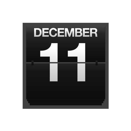 december kalender: Illustratie met een teller kalender 11 december Stockfoto