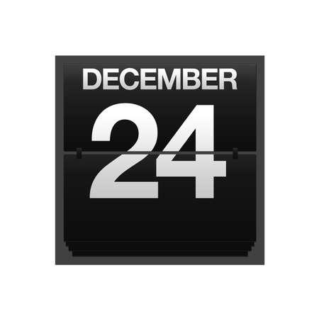 december kalender: Illustratie met een teller kalender 24 december