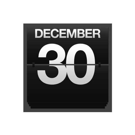 Illustration with a counter calendar december 30 Stock Illustration - 15633328