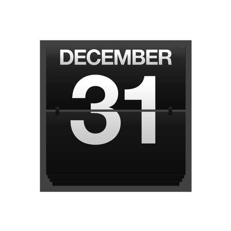 31: Illustration with a counter calendar december 31  Stock Photo
