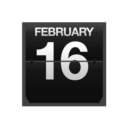 number 16: Illustration with a counter calendar february 16