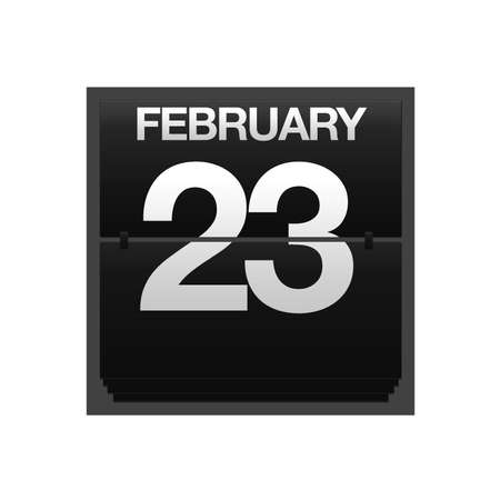 23: Illustration with a counter calendar february 23