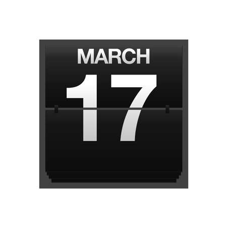 march 17: Illustration with a counter calendar march 17