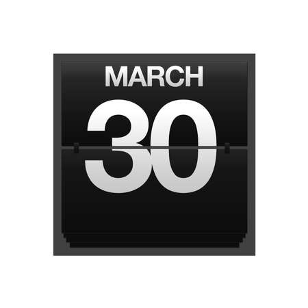 Illustration with a counter calendar march 30 Stock Illustration - 15666956