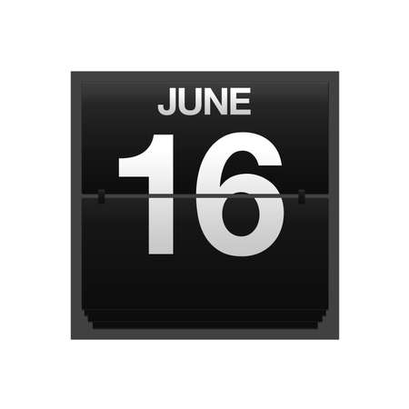 number 16: Illustration with a counter calendar june 16  Stock Photo