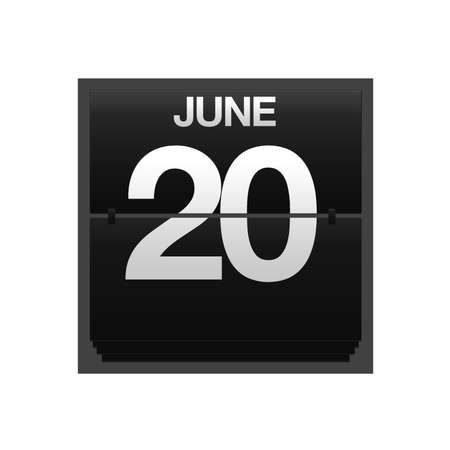 Illustration with a counter calendar june 20  Stock Photo