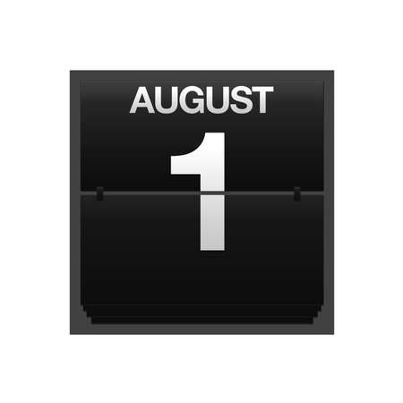 Illustration with a counter calendar august 1 Stock Illustration - 15707402