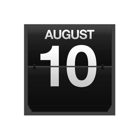 Illustration with a counter calendar august 10 Stock Illustration - 15707433