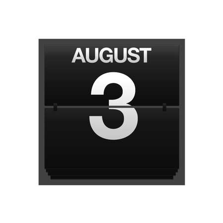 Illustration with a counter calendar august 3  Stock Illustration - 15707414