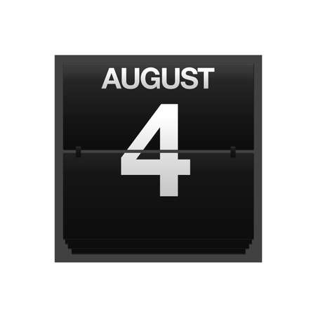 Illustration with a counter calendar august 4 Stock Illustration - 15707421