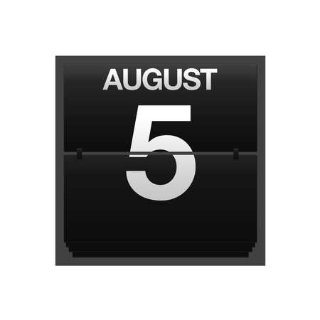 Illustration with a counter calendar august 5 Stock Illustration - 15707413