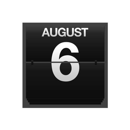Illustration with a counter calendar august 6 Stock Illustration - 15707426