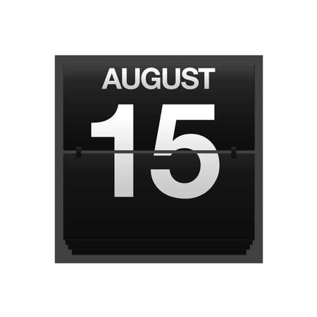 Illustration with a counter calendar august 15  Stock Illustration - 15707431