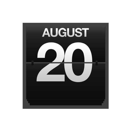 Illustration with a counter calendar august 20 Stock Illustration - 15707460