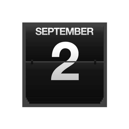 september 2: Illustration with a counter calendar september 2  Stock Photo