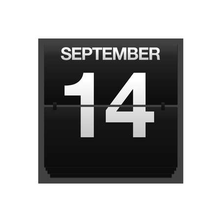 number 14: Illustration with a counter calendar september 14  Stock Photo