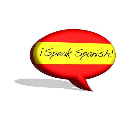 illustration with spanish flag and text speak spanish Stock Illustration - 15707483
