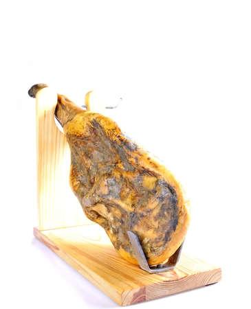 palette knife: Spanish iberian ham from acorn fed pigs isolated