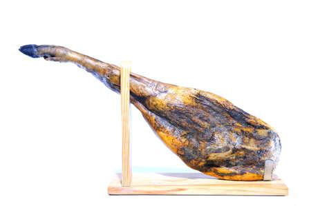 iberian: Spagnolo iberico prosciutto di suini alimentati con ghiande isolato Archivio Fotografico