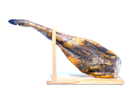 Spanish iberian ham from acorn fed pigs isolated